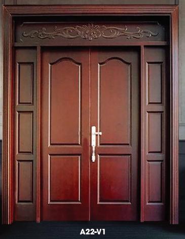 Cửa thép vân gỗ cửa đi 2 cánh kết hợp A22-V1