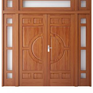 Cửa thép vân gỗ cửa đi 2 cánh kết hợp A22-V2