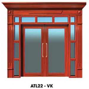 Cửa thép vân gỗ cửa đi 2 cánh kết hợp ATL22-VK